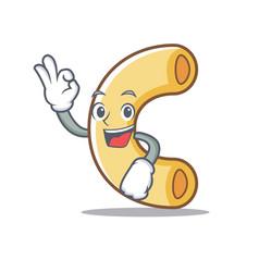Okay macaroni character cartoon style vector