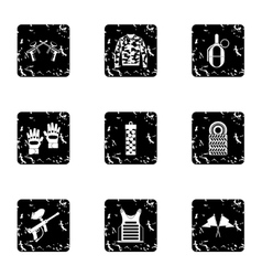 Paintball club icons set grunge style vector