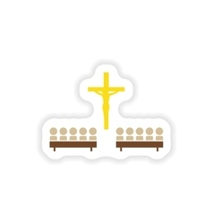Paper sticker on white background crucifixion and vector