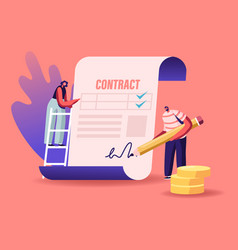 People make a deal agreement checking and signing vector