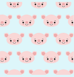 pig animal seamless pattern cute cartoon animals vector image