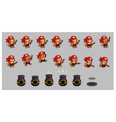 Pirate dog and cannon game sprites vector