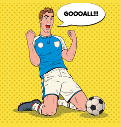 Pop art soccer player celebrating goal footballer vector