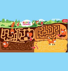 Puzzle maze game for kids super labyrinth vector