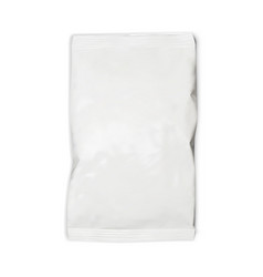 Realistic food snack pillow bag on white vector