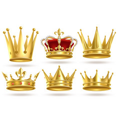 realistic golden crowns king prince and queen vector image