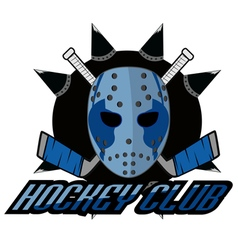 retro logo mask hockey club vector image