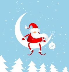 santa claus on moon vector image