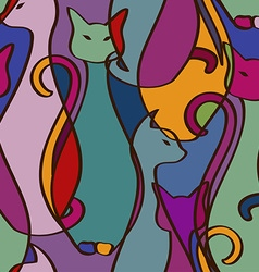 Seamless pattern colorful african cats vector