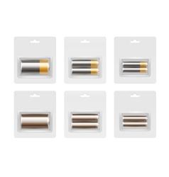 Set alkaline aa aaa c batteries in blister vector