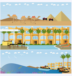 set egyptian resorts and famous places vector image