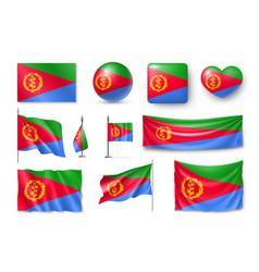 Set eritrea flags banners banners symbols vector