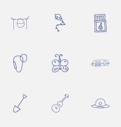 set of 9 editable trip doodles includes symbols vector image