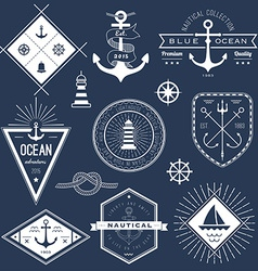 Set of nautical logos badges and labels vector image