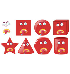 set of red shaped expressions vector image