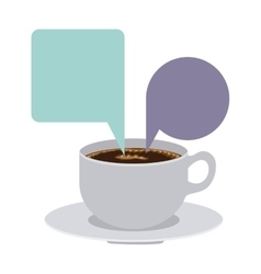 Set porcelain cup coffee with dialogue callout box vector
