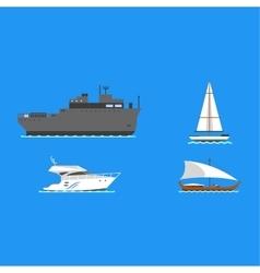 Ship and boats vector image