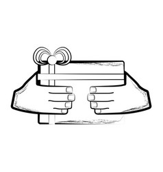 sketch of a hand holding a gift box vector image
