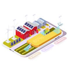 Smart farm in smartphone isometric vector