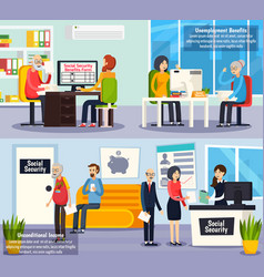 social security orthogonal banners vector image