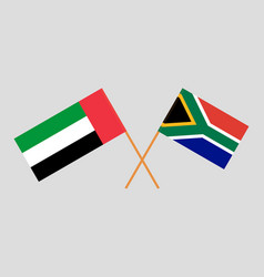 South african and uae flags vector