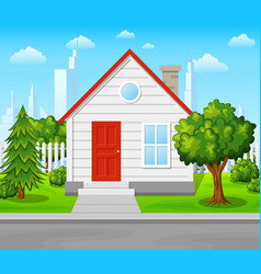 Suburban house with trees and city background vector