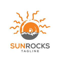 sun rock logo design vector image