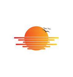 Sunset bird travel logo vector