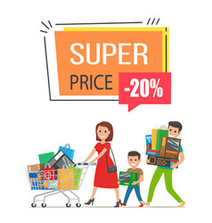 super price -20 off poster on vector image