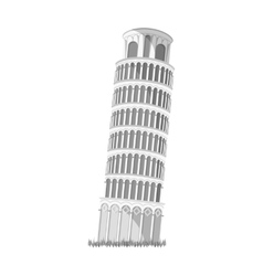 Tower of Pisa in Italy icon in monochrome style vector