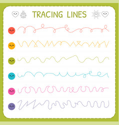 Tracing lines basic writing worksheet for kids vector