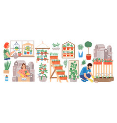 urban gardening collection people living in city vector image