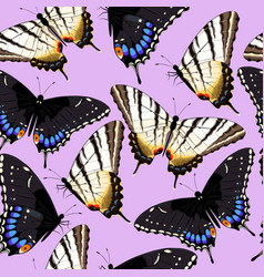Varicolored butterflies seamless vector