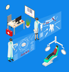 virtual reality doctor concept 3d isometric view vector image