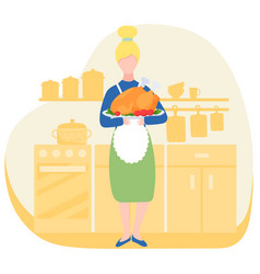 woman in kitchen with roasted turkey traditional vector image