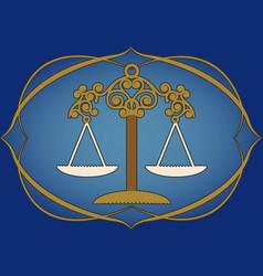 Zodiac sign libra antique balance inside vector