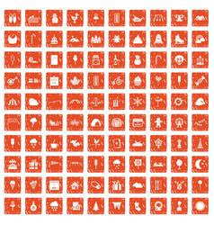 100 childrens parties icons set grunge orange vector image vector image