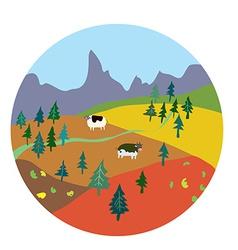Autumn landscape for mountain farm vector image
