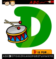 letter d with drum cartoon vector image