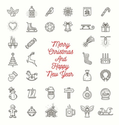 Set of Christmas line art icons vector image vector image