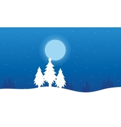 At night spruce Christmas landscape vector image vector image