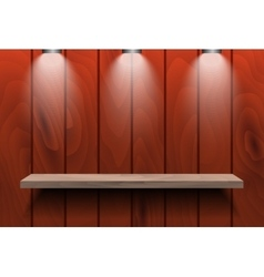 Empty shelf on red wooden wall vector