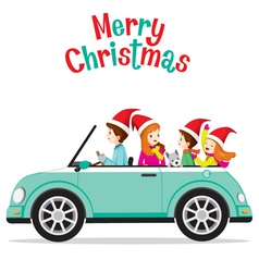 Father Driving Car With His Family vector image