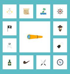 flat icons ship steering wheel corsair banner vector image vector image