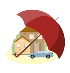 Insurance Concept with Car House and Umbrella vector image vector image
