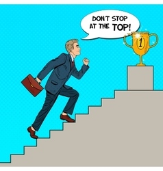 Pop art businessman walking up stairs to cup vector