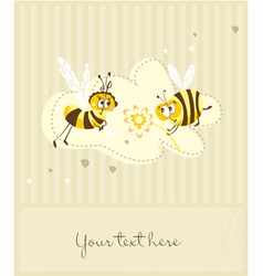 Spring vintage card with bees vector