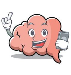 with phone brain character cartoon mascot vector image vector image