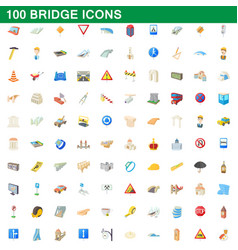 100 bridge icons set cartoon style vector image vector image