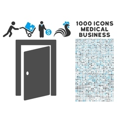 Door Icon with 1000 Medical Business Symbols vector image